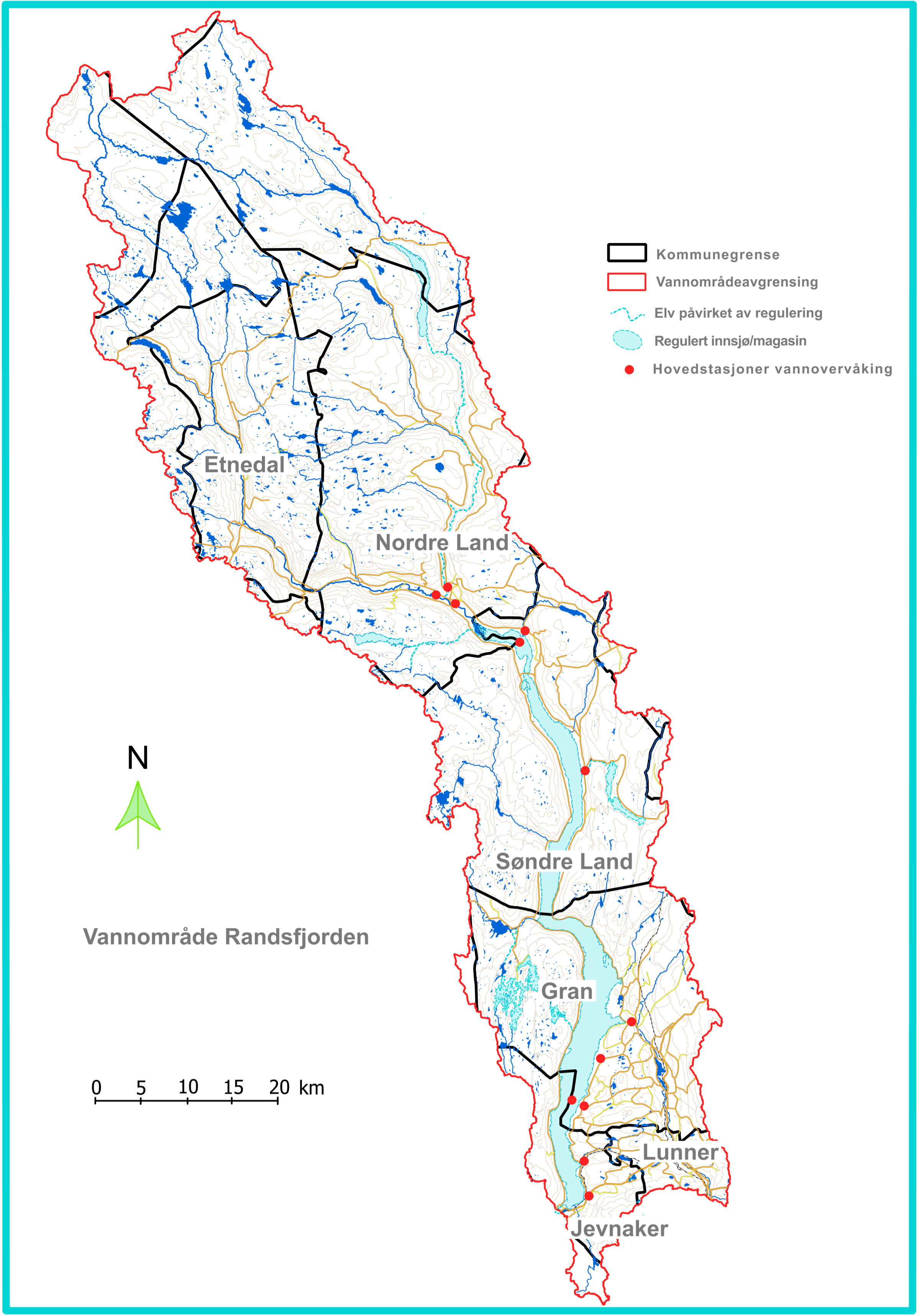 Kart over vannområde Randsfjorden med kommunegrenser